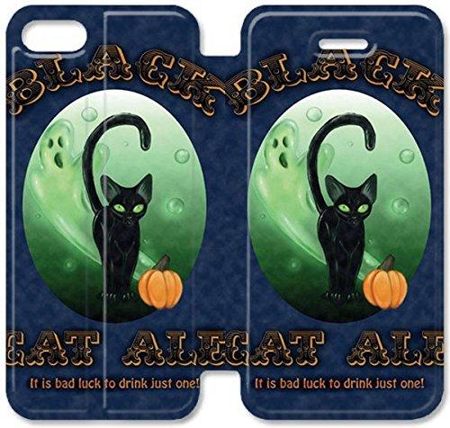 Flip étui en cuir PU Stand pour Coque iPhone 5 5S, bricolage 5 étui de téléphone cellulaire 5S Black Label Cat Halloween bière étui en cuir S7C2DG Coque iPhone bricolage protection