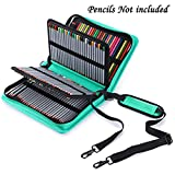 BTSKY Deluxe PU Leather Pencil Case For Colored Pencils - 160 Slot Pencil Holder (Green)