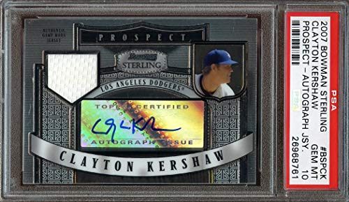 2007 bowman sterling prospect autograph jersey #bspck CLAYTON KERSHAW rc PSA 10 Graded Card