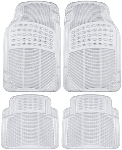 BDK MT-654-CL Universal Fit Heavy Duty All Weather Protection Floor Mat Rubber, 4 Piece, Clear