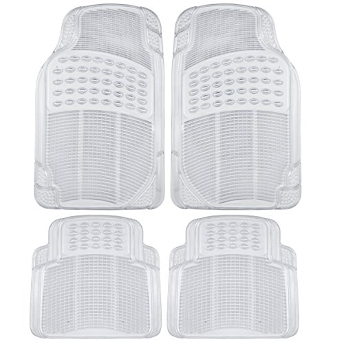 (BDK Heavy Duty 4pc Front & Rear Rubber Floor Mats for Car SUV Van & Truck - All Weather Protection Universal Fit (Clear))