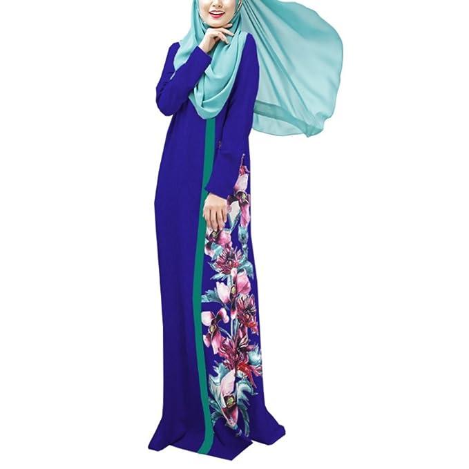 Highdas muslimische Frauen lange Ärmel Kleid Digitaldruck  Mehrfarbenmulticode Abaya Robe: Amazon.de: Bekleidung