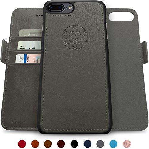 Dreem Fibonacci 2-in-1 Wallet-Case for iPhone 8-Plus & 7-Plus, Magnetic Detachable PC Slim-Case, Luxury Vegan Leather, RFID Protection, Smart 2-Way Stand, Gift-Box - Grey