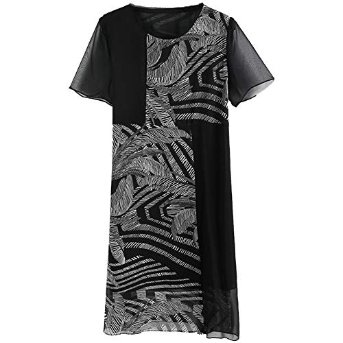 D'été Lâche L Paragraphe Bingqz Tempérament Nouvelle Mince Femmes Jupe Robe Mode Imprimée Long Noire qRRHwXz
