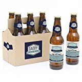 : Daddy's First Milestones - 6 Beer Bottle Labels with 1 Beer Carrier