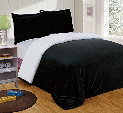 Chezmoi Collection Micromink Sherpa Reversible Throw Blanket (Queen, (Blanket Comforter Throw)