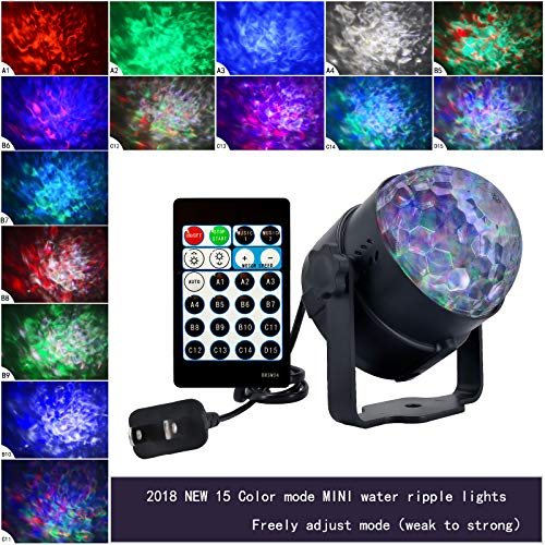 Price comparison product image Disco Ball Projector Lights,Ocean Wave LED Stage Light with Remote for Bar Home Party KTV 15 Colors (15 Colors)