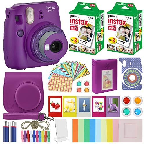 Fujifilm Instax Mini 9 – Instant Camera Clear Purple with Clear Accents with Carrying Case + Fuji Instax Film Value Pack (40 Sheets) Accessories Bundle, Color Filters, Photo Album, Assorted Fra
