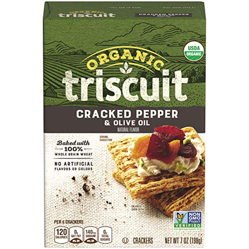 Triscuit Organic Cracked Pepper & Olive Oil Crackers (Pack of 6) Non-GMO