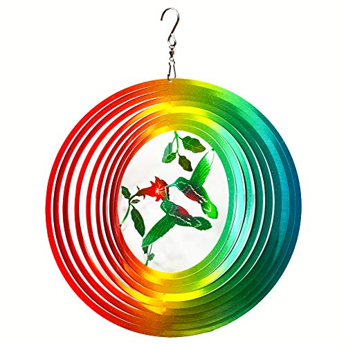 FONMY Wind Spinner Outdoor Metal 3D Hanging Garden Decoration for Indoor Outdoor Rainbow Color Hummingbird Metal Wind Spinners-12inch -