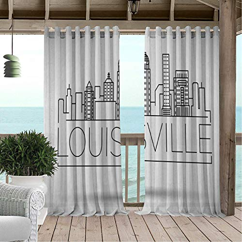 Linhomedecor Outdoor Waterproof Curtain Kentucky Minimalist Buildings of Louisville City Greyscale Typographic Illustration Pale Grey Black Porch Grommets Parties Curtain 84 by 84 inch ()