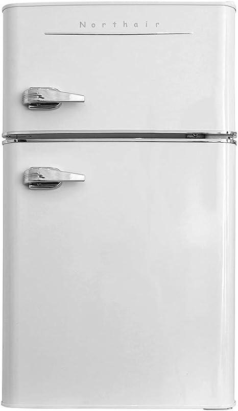 Northair Mini refrigerador de 2 puertas con asa, refrigerador compacto de 3.2 pies cúbicos de capacidad