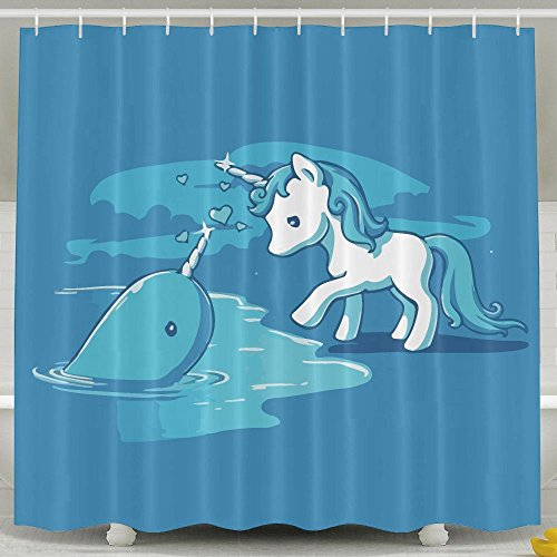 70OFF Narwal Date With Unicorn Shower Curtain Waterproof Polyester Fabric Decorative Bathroom Bath Curtains