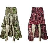 Mogul Interior Women Hi Low Skirt Recycled Sari Flare Ruffle Hippie Skirts S/M