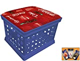 Blue Utility Crate Storage Container Ottoman Bench Stool for Office/Home/School/Preschools with Your Choice of Seat Cushion Theme and a FREE Nightlight! (Coke Fleece)