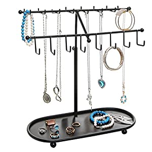 MyGift 2-Tier Adjustable-Height Necklace & Bracelet Stand with Ring Tray