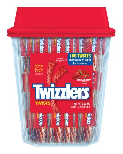 TWIZZLERS Twists, Strawberry Flavored Licorice Candy, 105 Count Container (Pack of 3) (Halloween Candy)