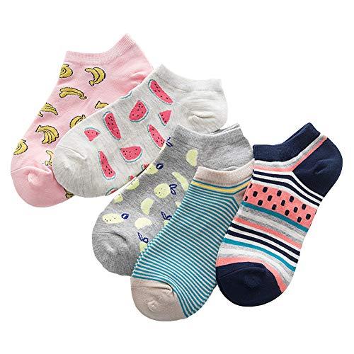 SJWIN Women's 5 Pack Cartoon Cat Striped Fun Letters Colorful Cotton Casual Ankle Socks (Fruit)