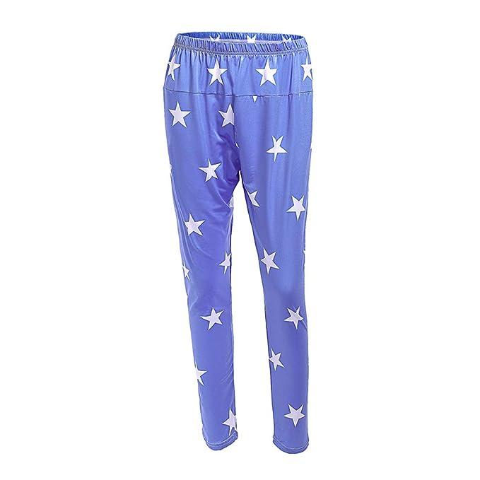 MEIHAOWEI Maternidad Mujeres Polainas del Vientre Estrella Impresa Flaco Embarazada Pantalones Elásticos Cintura elástica Suave Pantalones