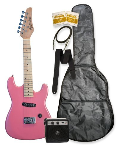 "32″ Black Metallic Pink Kids Mini 1/2 Half Size Electric Starter Guitar and Amplifier with ""Learn to Play Guitar DVD"", Bag, Strap, Extra Strings, & DirectlyCheap(TM) Medium Guitar Pick"