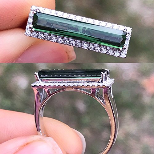 - Natural Tourmaline Chrome Blue Green Emerald Cut and Diamonds East West Ring 1.65 ct 14K White Gold Size 7 NEW