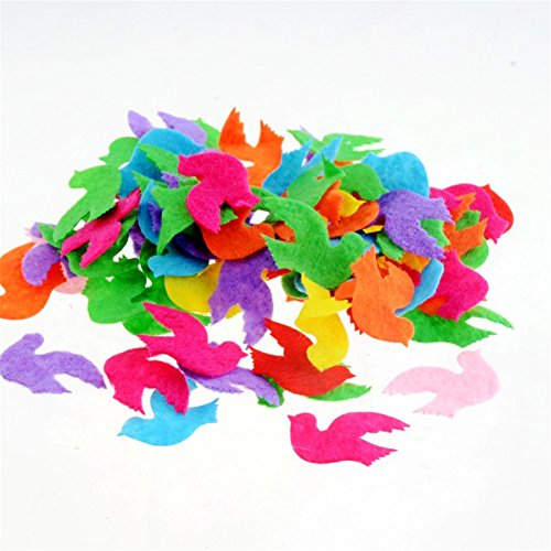 Felt Bird - Assorted Color 100pcs Felt Patch Applique Felt Scrap-booking Non-woven Stickers Sew on Applique Felt Pads for DIY Craft Making Sewing Handcraft Decoration (Bird)