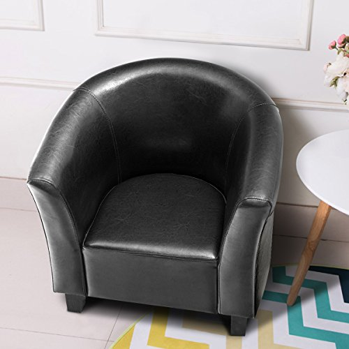 Costzon Kids Sofa Tub Chair Couch Children Living Room Toddler Furniture (PU Leather, Black) by Costzon (Image #4)'