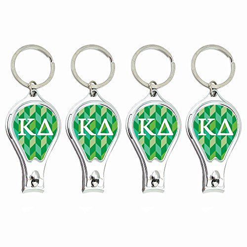 Kappa Delta Nail Clippers Keychain with built-in Nail File featuring ergonomic design (4pk). Idea for sorority gifts by Worthy