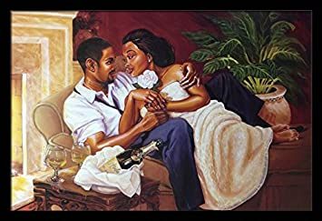 US Art Just The Two Of Us Romantic Couples – Katherine Roundtree 24×36 Black Framed – African American Black Art Print Wall Decor Poster