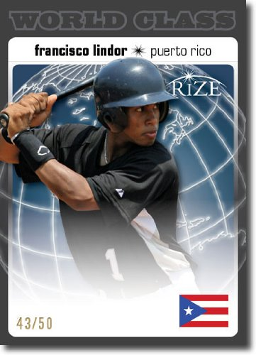 Puerto Rico Mlb - 2012 RIZE Draft World Class BLACK Paragon Card #WC-13 Francisco Lindor - Cleveland Indians (Rookie / Prospect Insert) / Puerto Rico (Serial #d to 50) MLB Baseball Trading Cards