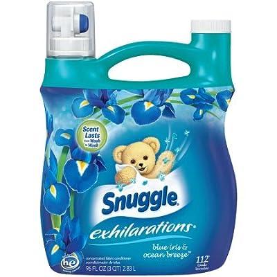 Snuggle Exhilarations Liquid Fabric Softener, Blue Iris and Ocean Breeze set of 4, 96 fl. oz per Jug a Total of 384fl. oz