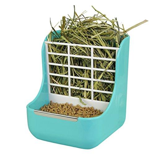 Niteangel 2 in 1 Hay Feeder Manger, Feeder Bowls Double Use for Grass & Food (Blue)