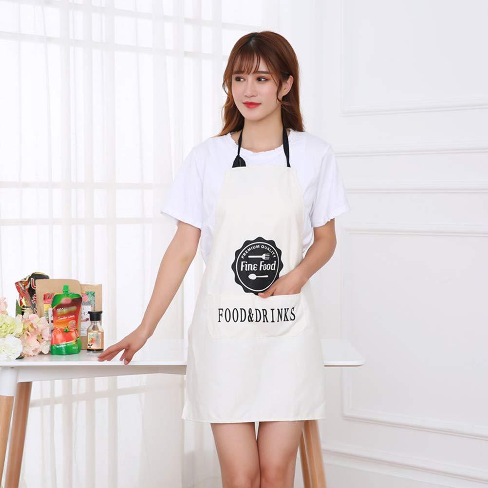 BESTonZON Delantal de algod/ón a Prueba de Suciedad Que cuelga Delantal del Cuello Que Cocina los Delantales de la Cocina para Las Mujeres Hombres Chef