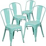 Flash Furniture 4 Pk. Mint Green Metal Indoor-Outdoor Stackable Chair