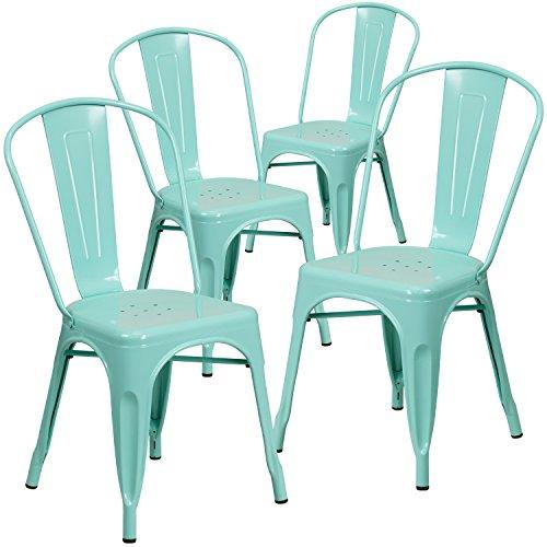 Flash Furniture 4 Pk. Mint Green Metal Indoor-Outdoor Stackable -