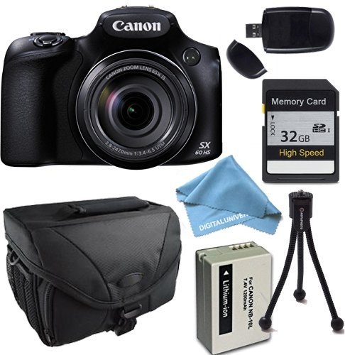 Canon PowerShot SX60 HS Camera with 32GB SDHC Class 10 Memory Card, Camera Case & More by Canon