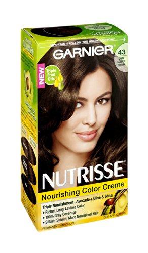 Garnier Nutrisse 43 foncé Golden Brown Couleur Crème Nourrissante Couleur de cheveux permanente, 1 CT (pack de 3)