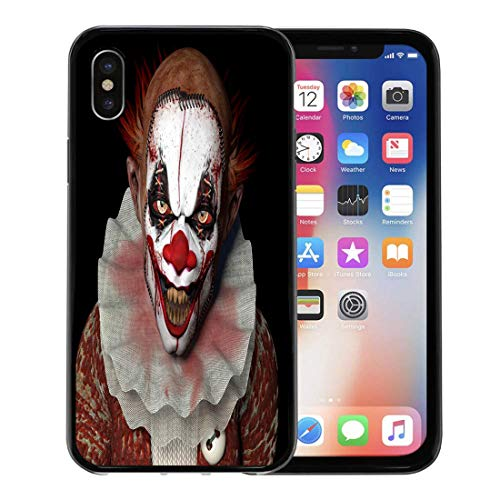 Semtomn Phone Case for Apple iPhone Xs case,Scary Scarier Clown Sharp Pointy Teeth Glaring at You Horror Evil Creepy for iPhone X Case,Rubber Border Protective Case,Black
