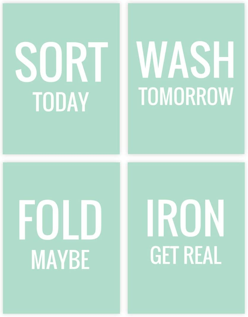 Andaz Press Laundry Room Wall Art Decor Signs, 8.5 x 11-inch Poster, Mint Green Print, Sort Today, Wash Tomorrow, Fold Maybe, Iron Get Real, 4-Pack