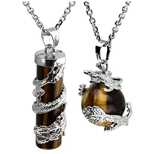 Jovivi 2pc Dragon Wrapped Natural Tiger Eye Round Ball Cylinder Gemstone Healing Crystal Pendant Necklace Set