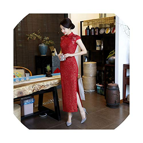 (HappyWe 2019 Summer New Lace Tempeent Long Cheongsam Kline Hollow Chie Style Cheongsam Dress,1957 Red,M)