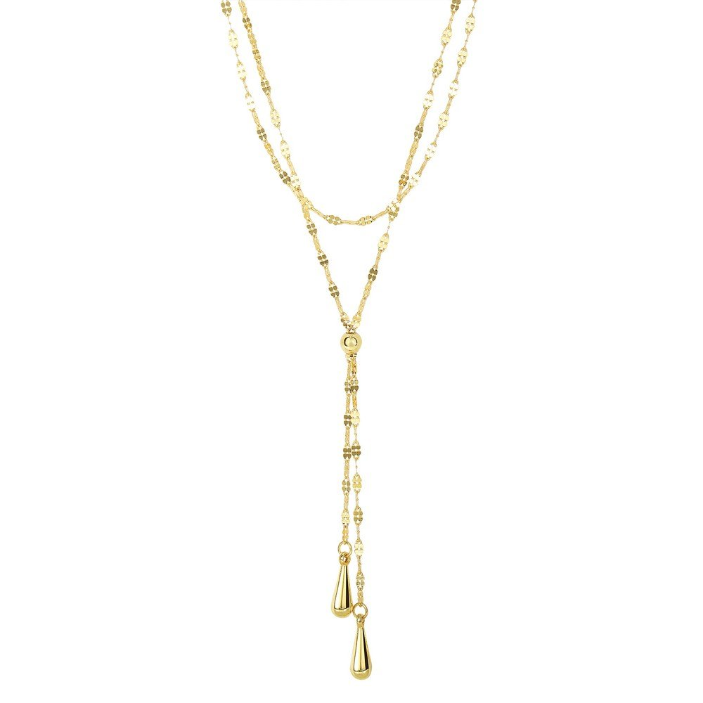 14k 1.25mm Shiny2-row Flat Mariner Chain As Lariat Style Necklace Double 1 In Tear Strand Lob-clasp by JewelryWeb