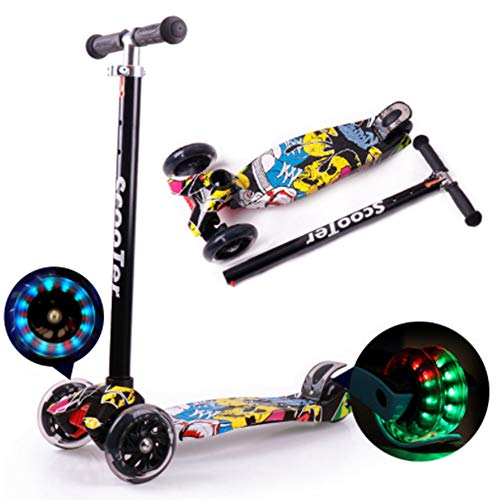 Four-Wheeled Flash Cool Graphic Scooter, Thick Flash on Detachable Telescopic Aluminum Alloy T-Bar, Suitable for Children Aged 3-6-14