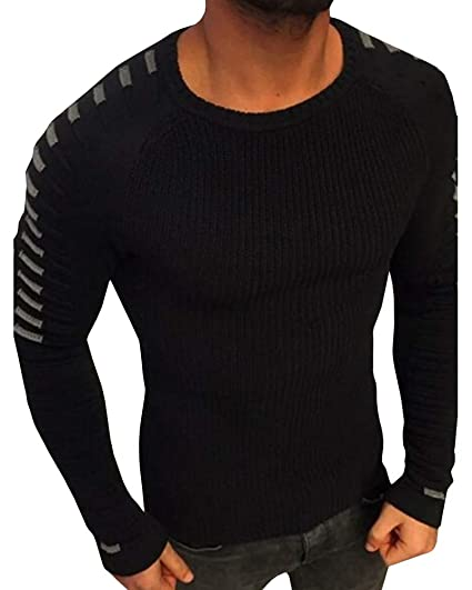 fcc05bd97 Makkrom Mens Long Pleated Raglan Sleeve Knitted Sweaters Slim Fit Crew Neck  Casual Winter Pullover Kintwear at Amazon Men's Clothing store: