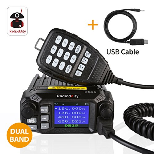 Radioddity DB25 Dual Band Quad-Standby Mini Mobile Car Truck Radio VHF UHF 25W 10W Car Transceiver with Programming Cable, Support Chirp