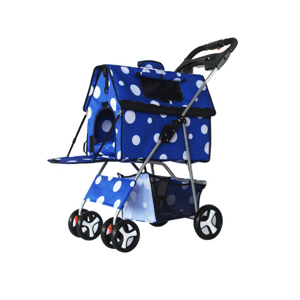 bluee YZONG Folding Pet Stroller, Removable Dog Stroller, Split Pet Car Bag, 4 Wheels, 360° redating Tire,Suitable for Small Pets,bluee