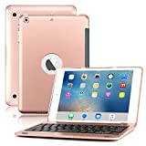 ipad 1 cover with keyboard - iPad Mini Keyboard Case, BoriYuan Bluetooth Wireless Keyboard Folio Flip Smart Cover For Apple iPad Mini 3/Mini 2/Mini 1 with Folding Stand and Auto Sleep/Wake Function (Rose Gold)