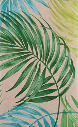 Tropical Areca Palm Leaves Expressions Vinyl Flannel Back Tablecloth (52