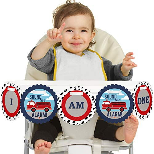 Big Dot of Happiness Fired Up Fire Truck 1st Birthday - I Am One - First Birthday High Chair Banner