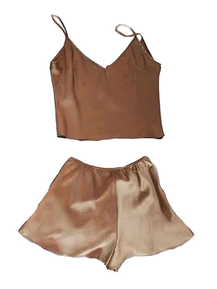 Brown Flawerwumen Womens Silk Pajamas Short Sets Cute Summer Satin Sleepwear Crop Cami Top and Shorts